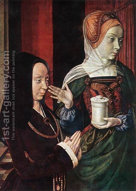 Mary Magdalen and a Donator by - Unknown Painter - Reproduction Oil Painting