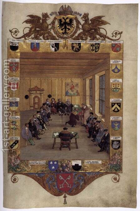 Meeting of the Regensburg Council by Hans Muelich or Mielich - Reproduction Oil Painting