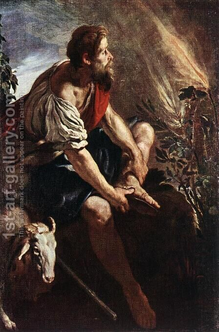 Moses before the Burning Bush by Domenico Feti - Reproduction Oil Painting