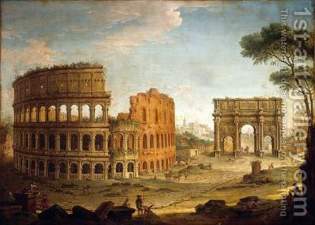 Rome View of the Colosseum and The Arch of Constantine by Antonio Joli - Reproduction Oil Painting