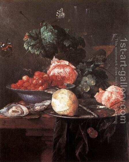 Still-life with Fruits by Jan Davidsz. De Heem - Reproduction Oil Painting