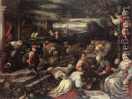 Summer by Jacopo Bassano (Jacopo da Ponte) - Reproduction Oil Painting