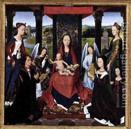 The Donne Triptych (centre panel) by Hans Memling - Reproduction Oil Painting