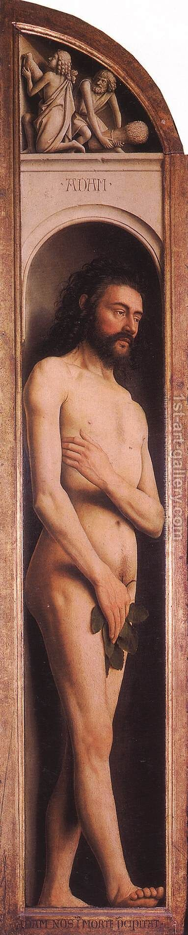 The Ghent Altarpiece Adam; Cain and Abel by Jan Van Eyck - Reproduction Oil Painting