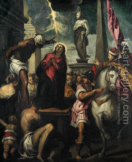 The Martyrdom of St Giustina by Jacopo d'Antonio Negretti (see Palma Giovane) - Reproduction Oil Painting