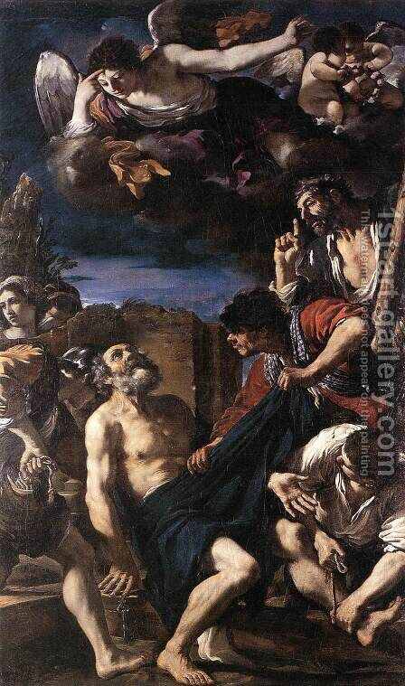 The Martyrdom of St Peter by Giovanni Francesco Guercino (BARBIERI) - Reproduction Oil Painting
