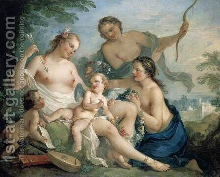 Venus and Cupid by Charles Joseph Natoire - Reproduction Oil Painting