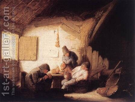 Village Tavern with Four Figures by Adriaen Jansz. Van Ostade - Reproduction Oil Painting