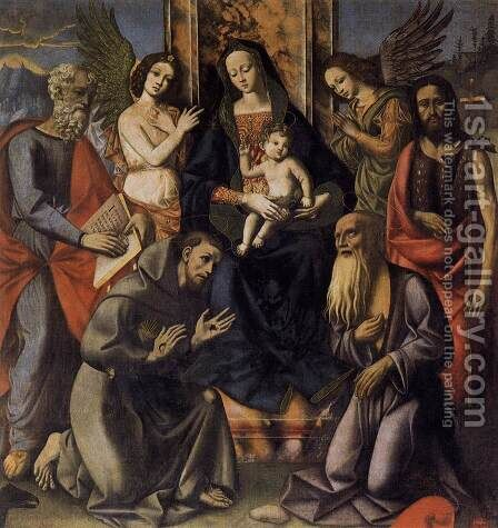 Virgin and Child with Four Saints by Italian Unknown Master - Reproduction Oil Painting