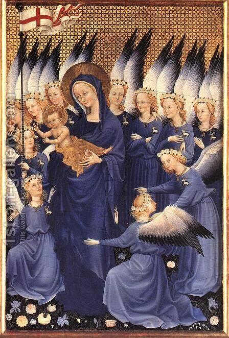Wilton Diptych Virgin and Child with Angels by - Unknown Painter - Reproduction Oil Painting