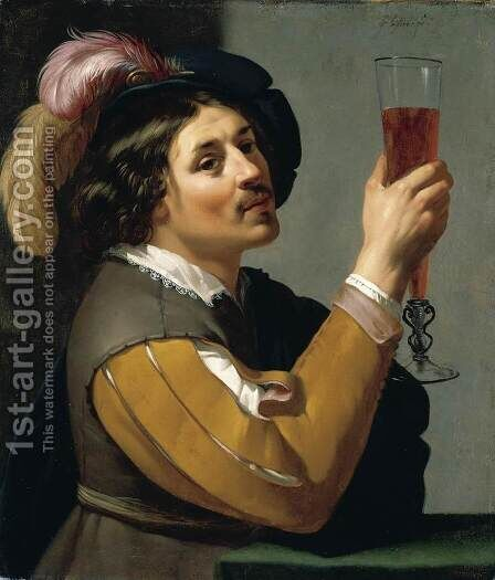 Young Man Drinking a Glass of Wine by Jan Van Bijlert - Reproduction Oil Painting