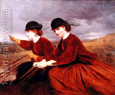 On the Downs  Two Ladies Riding Side Saddle by James Hayllar - Reproduction Oil Painting