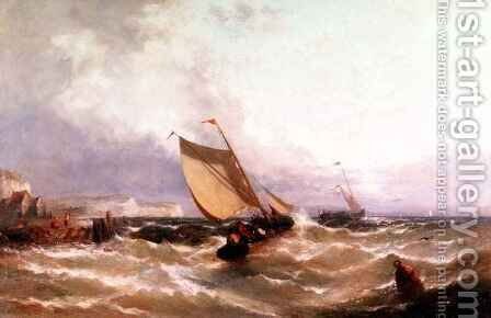 Fishing Boats off a Coastline by Edwin Hayes - Reproduction Oil Painting