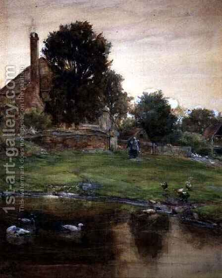 The Duck Pond by Claude Hayes - Reproduction Oil Painting