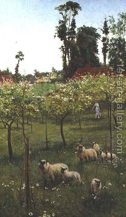 Sheep in an Orchard by Alice Mary Havers - Reproduction Oil Painting