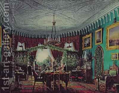 Drawing Room of Empress Alexandra Feodorovna 1798-1860 by Eduard Hau - Reproduction Oil Painting