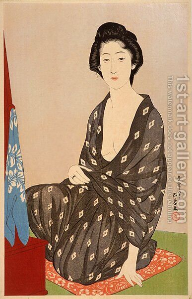 Woman in Summer Dress Taisho era by Goyo Hashiguchi - Reproduction Oil Painting