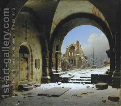 Cloister Ruins in Winter by Carl Georg Adolph Hasenpflug - Reproduction Oil Painting