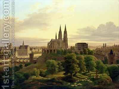 A Medieval Town in 1830 by Carl Georg Adolph Hasenpflug - Reproduction Oil Painting
