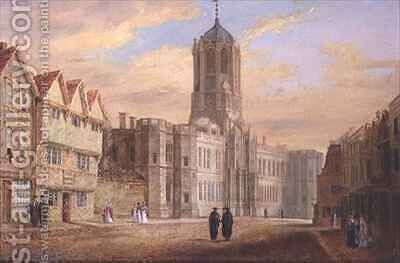 Oxford Tom Tower and the West Front of Christ Church College by J. Harwood - Reproduction Oil Painting