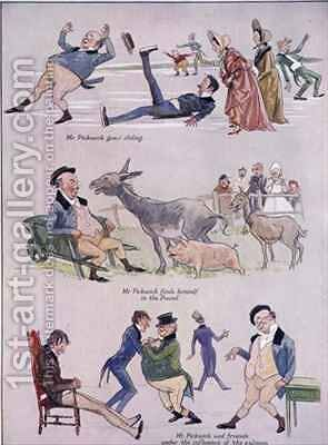 Cartoons of Mr Pickwick from Holly Leaves Christmas Number of the Illustrated Sporting and Dramatic News by Henry Harris - Reproduction Oil Painting