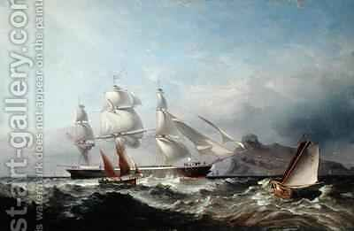 A Clipper Ship off the Mumbles Lighthouse Swansea by James Harris of Swansea - Reproduction Oil Painting