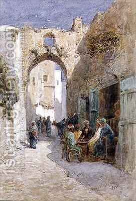 A Quiet Street Jerusalem by Henry Andrew Harper - Reproduction Oil Painting