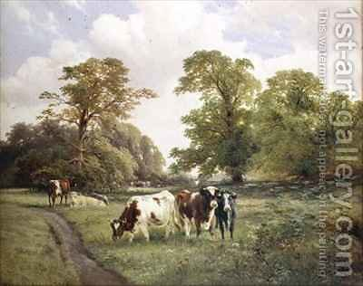Cattle Grazing by a Path in a Wooded Landscape by James Duffield Harding - Reproduction Oil Painting