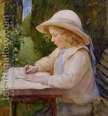 Girl drawing on a garden table by Mary Lascelles Harcourt - Reproduction Oil Painting