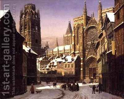 Dutch Cathedral Town by Heinrich Hansen - Reproduction Oil Painting