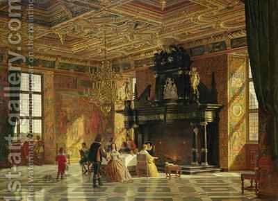 Knights Hall Palace of Fredericksborg nr Copenhagen by Heinrich Hansen - Reproduction Oil Painting