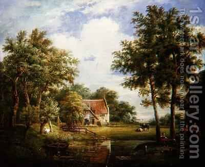 Dutch Farm Scene by Carel Lodewijk Hansen - Reproduction Oil Painting