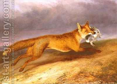 Fox making off with a Rabbit by Charles Hancock - Reproduction Oil Painting