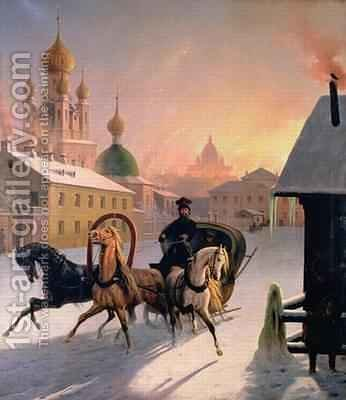 Troika on the Street in St Petersburg by Charles de Hampeln - Reproduction Oil Painting