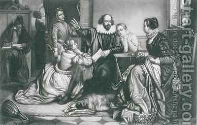 Shakespeare with his Family at Stratford Reciting the Tragedy Hamlet by Edouard Jean Conrad Hamman - Reproduction Oil Painting