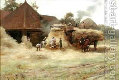 Threshing a Scottish Farm by James Whitelaw Hamilton - Reproduction Oil Painting