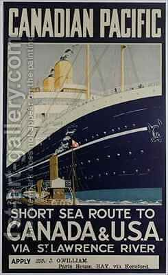 Poster advertising Canadian Pacific ferry company by E. Hamilton - Reproduction Oil Painting