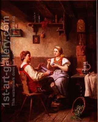 Winding wool by Alfred Hamacher - Reproduction Oil Painting