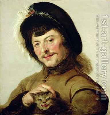 A Young Man with a Cat by (after) Hals, Frans - Reproduction Oil Painting