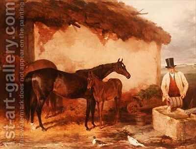 The Mare Perhaps with her foal by Harry Hall - Reproduction Oil Painting