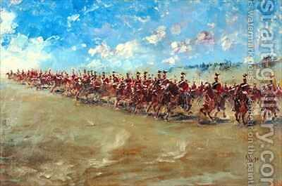 16th Lancers advancing at a gallop by Edward Matthew Hale - Reproduction Oil Painting