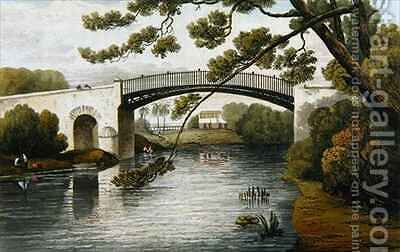 Bridge over the Rio Cobre Spanish Town from A Picturesque Tour of the Island of Jamaica by James Hakewill - Reproduction Oil Painting