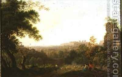 A view of Rome with peasants and ruins by Jakob Philippe Hackert - Reproduction Oil Painting