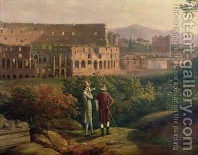 Johann Wolfgang von Goethe 1749-1832 visiting the Colosseum in Rome by Jakob Philippe Hackert - Reproduction Oil Painting