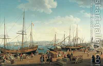 View of the Port of Messina from the Palazzo del Senato by Jakob Philippe Hackert - Reproduction Oil Painting