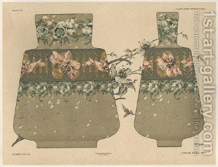 Vases plate 28 from Fantaisies decoratives by (after) Habert-Dys, Jules-Auguste - Reproduction Oil Painting