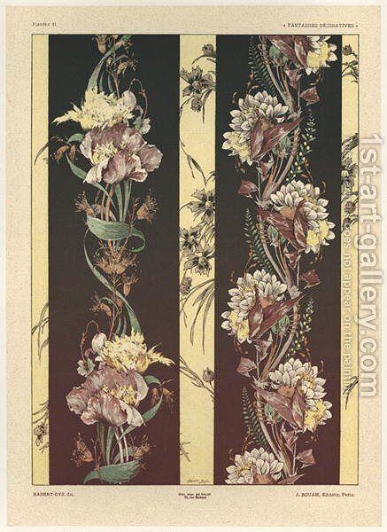 Flowers plate 21 from Fantaisies decoratives by (after) Habert-Dys, Jules-Auguste - Reproduction Oil Painting