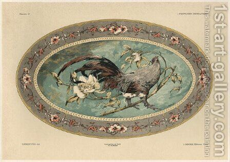 Cock plate 37 from Fantaisies decoratives by (after) Habert-Dys, Jules-Auguste - Reproduction Oil Painting