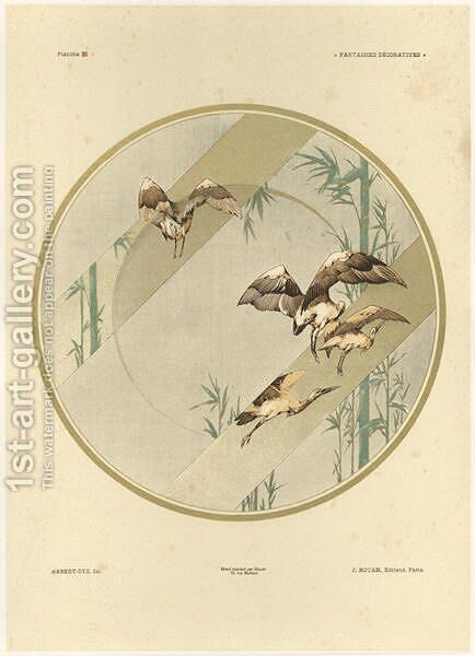 Storks plate 10 from Fantaisies decoratives by (after) Habert-Dys, Jules-Auguste - Reproduction Oil Painting