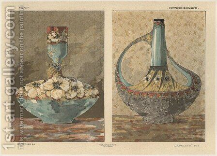 Vases plate 45 from Fantaisies decoratives by (after) Habert-Dys, Jules-Auguste - Reproduction Oil Painting